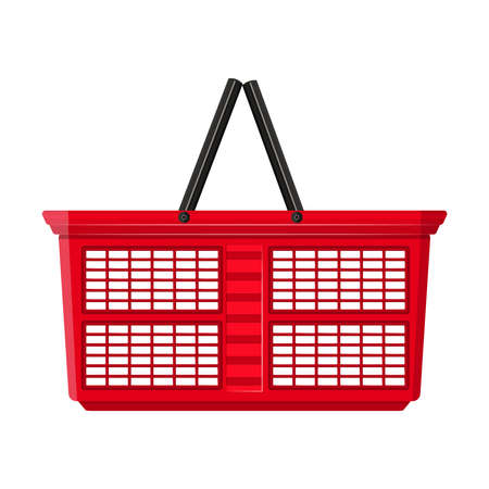 Shopping basket isolated on white background. Red plastic empty shopping basket with handle. Market store color cart icon. Cart without products. Online store. Side view. Stock vector illustration Ilustrace