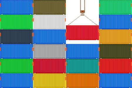 Stack metal shipping cargo containers. Delivery of cargo shipping. Crane with a container in harbor. Pattern of goods container for logistics and transportation. Industrial texture. Stock vector illustration