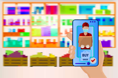 Hand holds a mobile phone with a grocery order on supermarket shelves background. Supermarket interior. Shelf with products. Online store, e-commerce concept. Safety delivery. Supply service. Stock vector illustration Ilustrace
