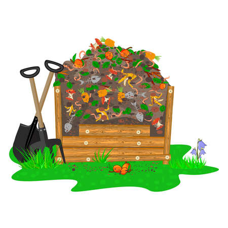 Compost box with with organic material and worms isolated on white background. Wooden bin with ground and food garbage. Organic fertilizer pile. Recycling, zero waste and composting concept. Stock vector illustration Ilustrace