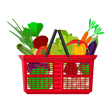 Shopping basket full of fresh vegetables isolated on white background. Healthy organic natural food. Different assortment groceries in red plastic shop cart. Buy grocery in the supermarket. Stock vector illustration