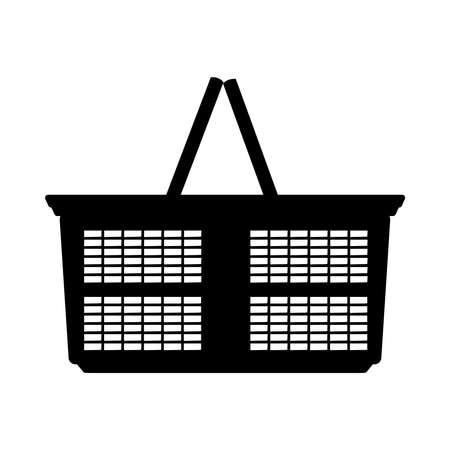 Shopping basket icon. Supermarket basket black silhouette isolated on white background. Market cart. Empty shopping basket with handle. Cart without products. Online store. Buy sign. Flat design style. Side view. Stock vector illustration