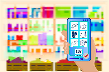 Hand holds a mobile phone with a grocery order on supermarket blurry shelves background. Supermarket interior. Mobile app for ordering food. Online store, e-commerce concept. Safety delivery. Supply service. Stock vector illustration