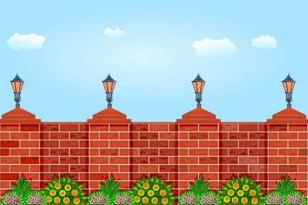Brick fence against the sky. Fence with pillars of bricks, street lamps, green plants and blue sky. Red brick poles fence. Scenery of city park or street wall. Urban landscape, motives of architecture. Stock vector illustration