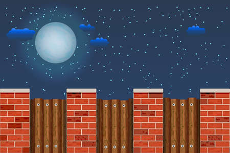 Wooden fence against the night sky. Rural wooden fence with pillars of bricks and sky with moon, stars and clouds. Red brick poles fence with brown wooden boards. Farm or garden palisade. Stock vector illustration