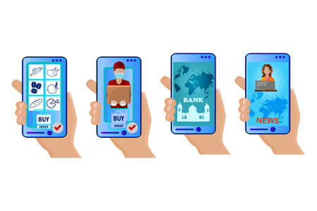 Set of hands and phones with differents app isolated on white background. Mobile applications concept. Hands holding smartphones. Concept of work and communication on the Internet. People and gadgets. Stock vector illustration