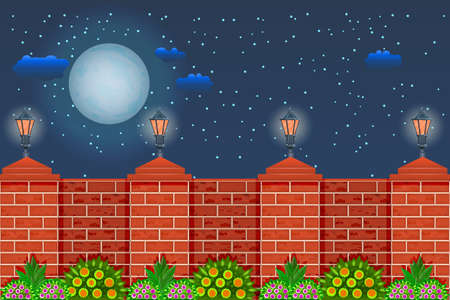 Fence against the night sky. Rural fence with pillars of red bricks, lamps, plants and sky with moon. City park or street wall, farm or garden. Vector