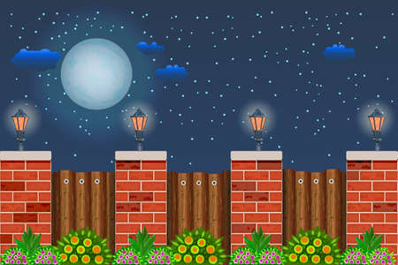 Wooden fence with plant at night time. Night landscape with starry sky, full moon, fence, street lanterns and bushes with green foliage and flowers. Wood fence with pillars of bricks. Stock vector illustration