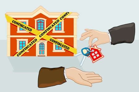 House with yellow warning tapes and hands giving keys isolated on white background. House is labelled as confiscated. Housing bubble and mortgage crisis concept. Real estate seize. Stock vector illustration