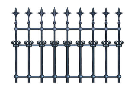 Decorative cast iron wrought fence with artistic forging isolated on white background. Metal guardrail. Steel modular railing. Vintage gate with swirls. Black forged lattice fence. Stock vector illustration