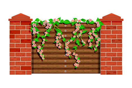 Blooming tree branch with flowers and green leaves on wooden fence  isolated on white background. Pink bloom liana or ivy climbing over the garden fence wall. Park wood barrier with pillars of bricks. Stock vector illustration Ilustrace