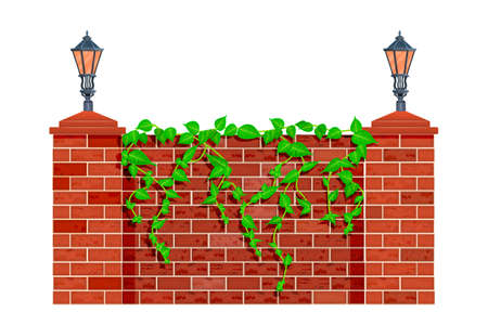 Fence with climbing plant branches isolated on white background. Lianas or ivy on red brick fence or wall. City park or garden masonry  barrier with street lanterns and herb leaves. Motives of architecture. Stock vector illustration