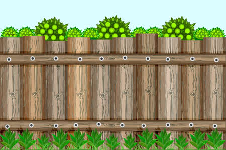 Nature background with green trees, grass and countryside brown wooden fence. Garden fencing, summer backyard or palisade. Summer landscape with traditional rustic picket fence. City park or street wall. Stock vector illustration