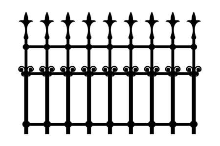 Decorative cast iron wrought fence silhouette with artistic forging isolated on white background. Metal guardrail. Steel modular railing. Vintage gate with swirls. Black forged lattice fence. Stock vector illustration