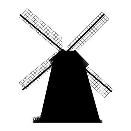 Windmill silhouette isolated on white background. Black windmill icon, sign or pictogram. Ilustrace