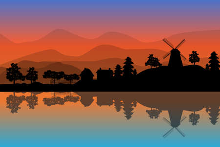 Landscape with windmill, houses and trees at sunset on hills backdrop. Village scenery with reflection in the water. Countryside panorama on the coast on evening in summer. Sunrise in nature background. Stock vector illustration Ilustrace