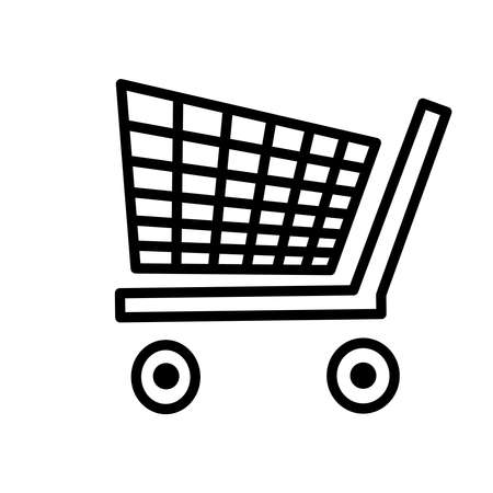 Shopping cart icon isolated on white background. Shop trolley silhouette in simple flat design style. Basket business concept. Ecommerce symbol. Empty supermarket cart for online store sign. Stock vector illustration Ilustrace