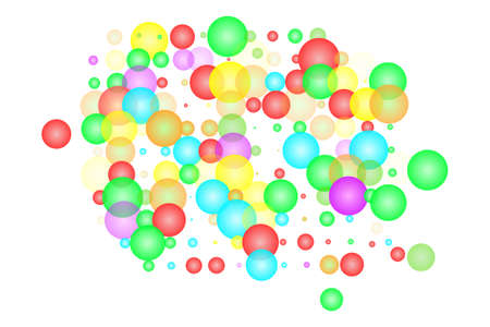 Abstract colorful bubbles isolated on white background. Scattered colored different size glowing circles. Festive rainbow of soap balls. Cheerful holiday. Overlapping multicolor bubbles. Stock vector illustration