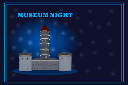 Museum night. Ancient castle at starry sky background. Cultural event poster, flyer or banner template with copy space. Annual municipal cultural public event during the night. International Museum Day. Stock vector illustration Ilustrace