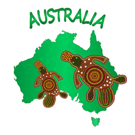 Map of Australia with two platypus isolated on white background. Australian continent. Australia Aboriginal day. Naidoc week. Union jack. Reconciliation Day. Travel to australia poster design. Stock vector illustration Ilustrace