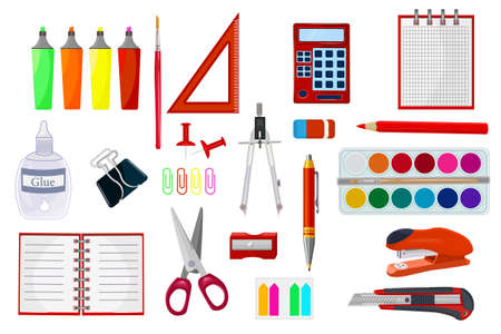 Stationery supplies set isolated on white background. School supplies and items collection. Study workspace accessories. Infographic elements. Back to school equipment. Stuff for office and education. Stock vector illustration