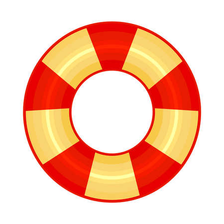 Rubber or inflatable ring isolated on white background. Colorful swim wheel icon. Inflatable float buoy. Bright yellow and red swimming circle. Vacation or holiday symbol. Top view swimming ring for ocean, sea, pool. Stock vector illustration