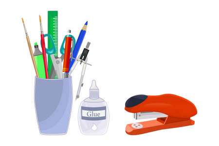 Pencils holder with school stationery isolated on white background.  Back to school concept. Office, education and home supply stationery in plastic cup. Different office items equipment in a stand for pens. Desktop organizer. Stock vector illustration