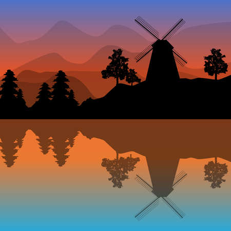 Beautiful landscape with windmill, trees, mountains and sunset. Panoramic view of fjord at twilight with reflect in the water at sunrise. Silhouette of windmill near the canal. Amazing evening over the island. Stock vector illustration Ilustrace