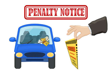 Parking violation ticket fine placed on the car windshield, under wiper. Penalty charge notice, illegal parking. Warden hand holding violation ticket. Street rules and safety. Red stamp with text. Stock vector illustration