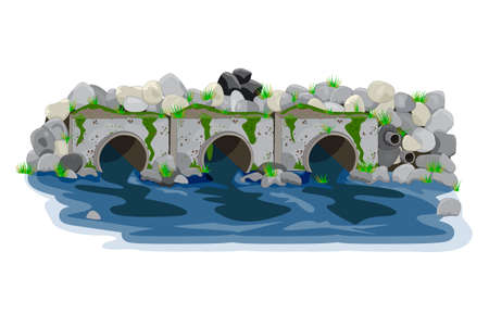 Water pollution from industrial pipes. Three pipes drain the waste water into river, ecological disaster, dirty toxic effluents, environmental pollution. Sewage and pond contamination. Stock vector illustration