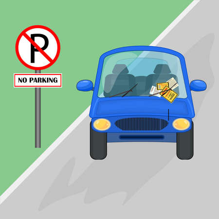 Parking violation ticket fine placed on the car windshield, under wiper. Car is parked to no parking sign. Car parked in no parking area. Penalty charge notice, illegal parking. Street rules and safety. Stock vector illustration