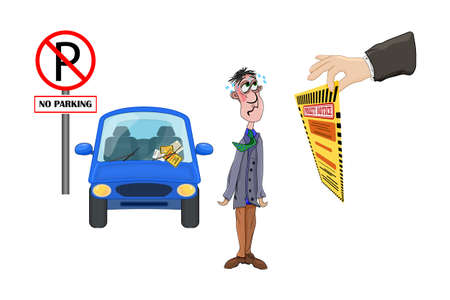 Driving rules violation. Pay fine. Penalty notice to driver concept. Warden hand holding violation ticket. Municipal parking fee as penalty. Traffic police charge bill for traffic law offense. Illegal parking. No parking road sign. Stock vector illustration