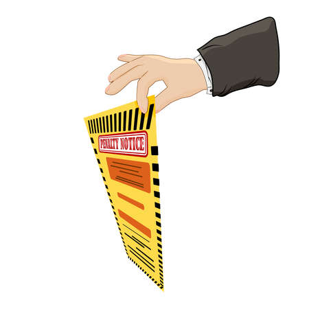 Warden hand holding violation ticket. Hand holding a fine ticket isolated on white background. Police charge bill for speeding or traffic law offense. Road traffic safety regulations. Stock vector illustration