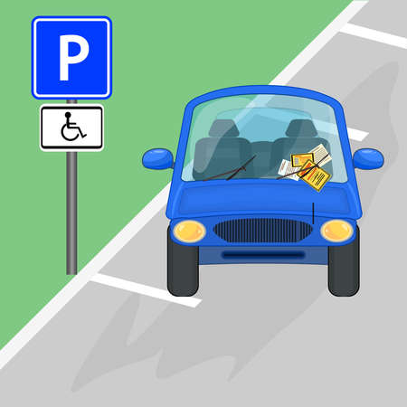 Car parked in disabled parking area. Parking violation ticket fine placed on the car windshield, under wiper. Car is parked to no parking sign. Penalty charge notice, illegal parking. Street rules and safety. Stock vector illustration