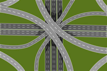 Road junction and bridges top view isolated on green background. Aerial view of highway. Empty intersections and overpasses. Traffic infrastructure. Autobahn or expressway concept. Stock vector illustration