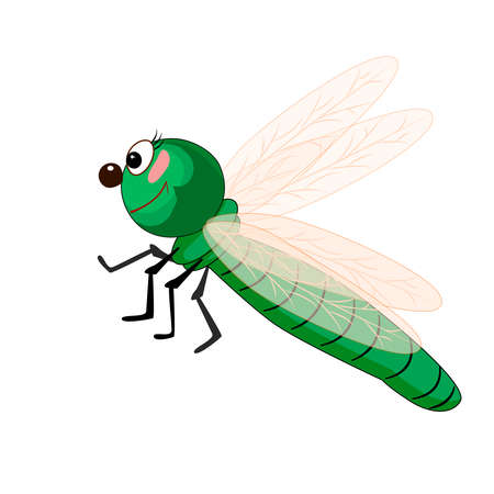 Dragonfly isolated on white background. Cartoon funny green dragonfly. Dragon fly with big eyes and yellow wings. Cute bug icon. Insect character. Friendly beetle mascot. Stock vector illustration