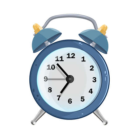 Alarm clock isolated on white background. Blue retro alarm clock in cartoon style. Wake up time with bell. Good Morning symbol. Classic timer time. Stock vector illustration