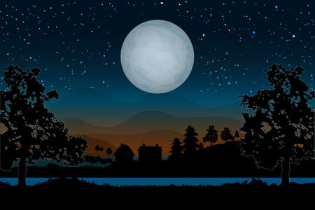 Landscape with houses, river, trees and full moon on hills backdrop. Night village scenery with moon and starry sky. Countryside panorama on the coast on evening in summer. Moonlight in nature background. Stock vector illustration