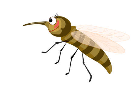 Cartoon mosquito isolated on white background. Mosquito character with big eyes and long curved proboscis. Cute insect mascot. Lovely bug icon. Bug icon. Friendly beetle. Stock vector illustration