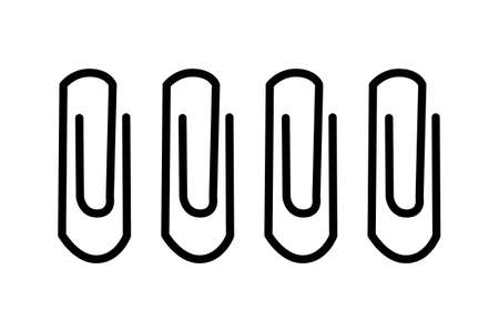 Paper clip icon or logo isolated on white background. Silhouette of office document fastener. Paperclip attachment symbol or pictogram. Stationery supply simple flat design sign. Stock vector illustration