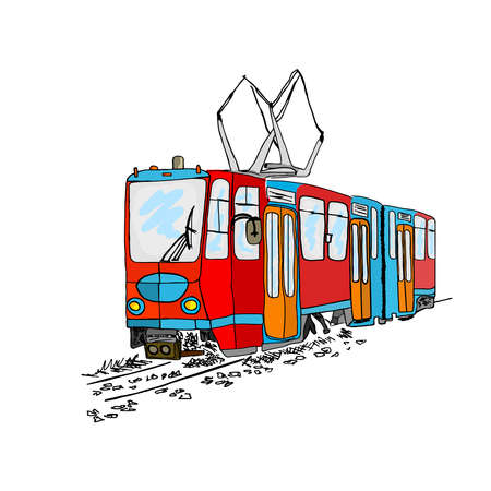 Tram isolated on white background. Cartoon city public transport. Vintage tram style. Urban trolley. Old red tramway in Lisbon. Hand drawn sketch of retro streetcar. Stock vector illustration Çizim