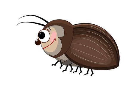 Cartoon bug isolated on white background. Cartoon funny brown beetle. Cute bug icon. Insect character. Friendly beetle mascot. Kawaii of a cute little insect. Stock vector illustration