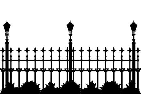 Silhouette of iron fence with street flashlights and plants. Decorative fence silhouette with artistic forging isolated on white background. Metal guardrail. Vintage gate with swirls. Black forged lattice fence. Stock vector illustration Çizim