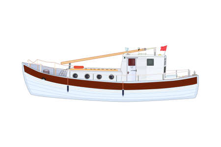 Boat isolated on white background. Commercial sea fishing trawler vessel. Nautical sailing transport for fishing. Ship side view icon. Sea or ocean transportation, marine ship for industrial seafood production. Stock vector illustration Çizim