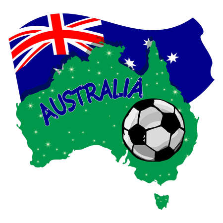 Soccer ball with australia continent and flag isolated on white background. Australian football concept. Australia national football team. Banner with map of Australia with soccer ball. Stock vector illustration