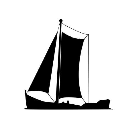 Sailboat silhouette isolated on white background.