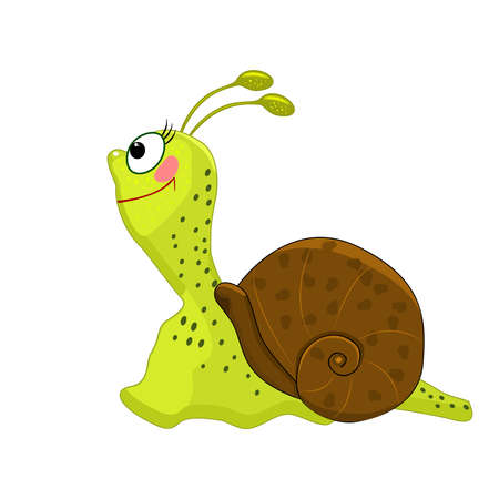 Cartoon snail isolated on white background. Cochlea with big eyes and brown shell. Friendly cute insect. Happy green snail character. Lovely beetle icon. Funny cochlea mascot. Stock vector illustration