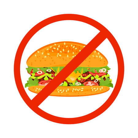 No fast food sign isolated on white background. Hamburger inside red banned sign. Fast food danger label. Unhealthy eating concept. No hamburger symbol. Stock vector illustration Çizim
