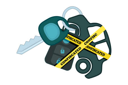 Car keyring and key with yellow warning tapes isolated on white background. Automobile is labelled as confiscated. Confiscation of  property or mortgage crisis concept. Stock vector illustration Çizim