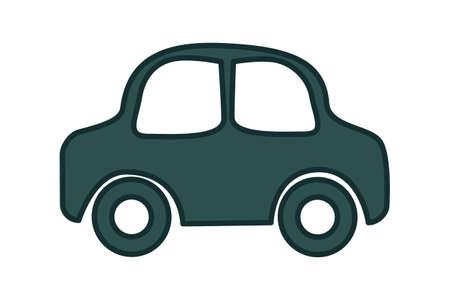 Car icon isolated on white background. Cartoon automobile symbol. Simple black vehicle sign. Vehicle pictogram or logo. Flat design style. Stock vector illustration Çizim